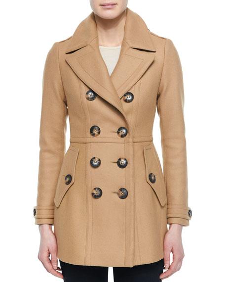 Dillsmead Military Wool-Blend Pea Coat, Camel