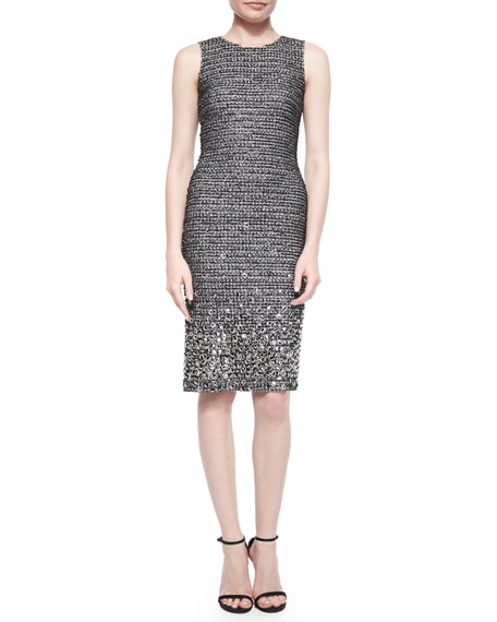 St. John Collection Shimmer Tweed Paillette Beaded Sheath