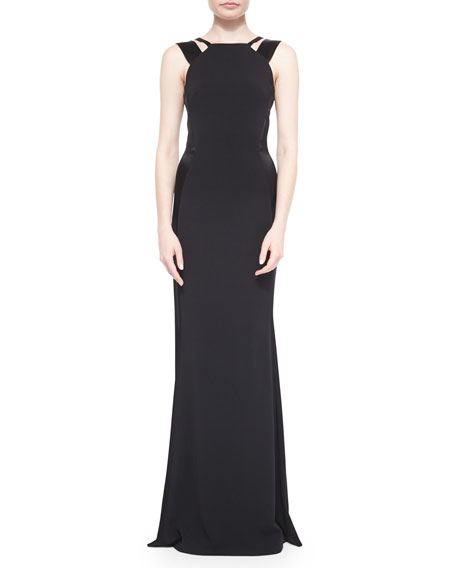 St. John Collection Classic Satin-Inset Double-Strap Gown