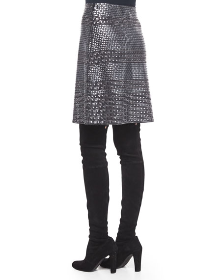Tile-Sequined A-Line Mini Skirt