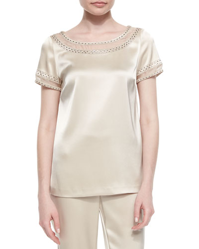 Beaded Organza-Inset Satin Blouse
