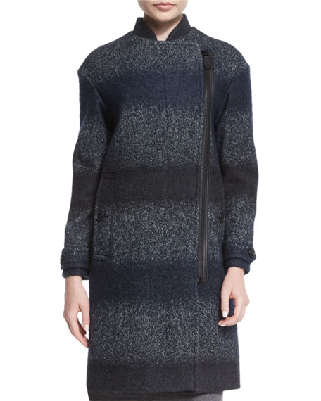Burberry Wiggsmoore Long Textured Striped Coat