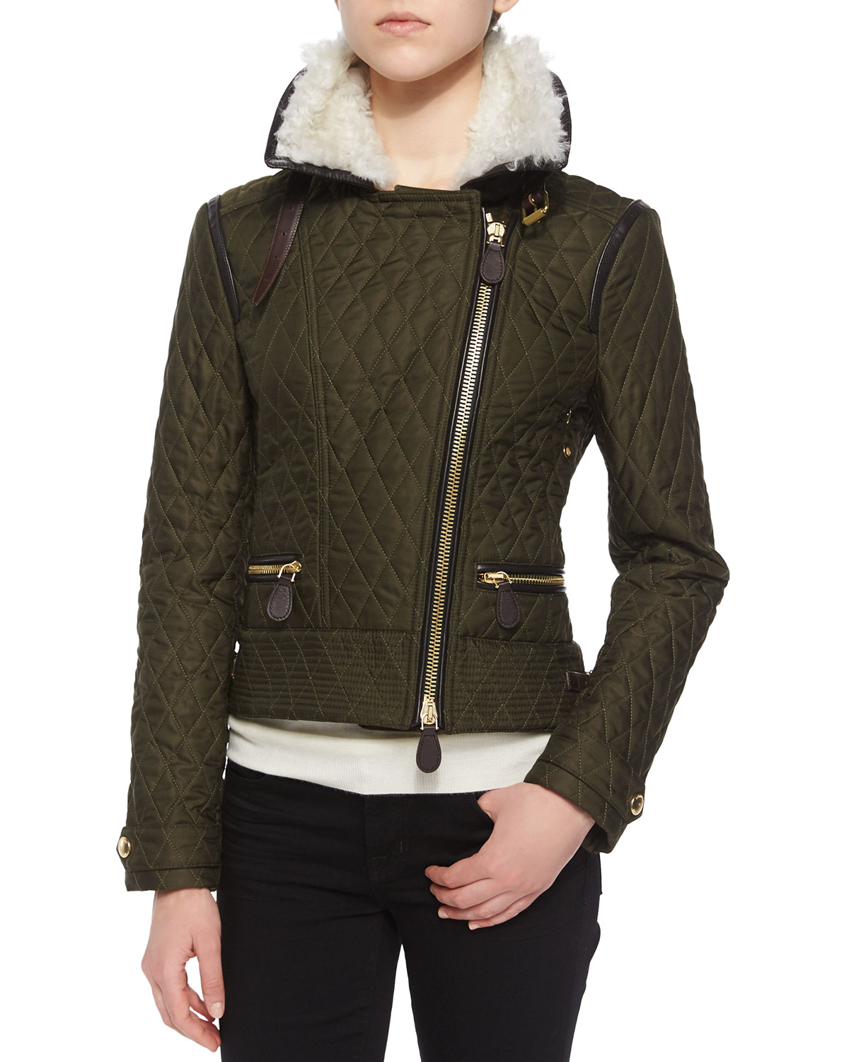 458ecccddfb Burberry Brit Weatherford Quilted Aviator Jacket W  Fur Trim ...