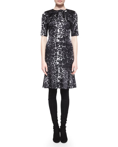 Leopard-Print Flounce-Hem Dress, Caviar Multi