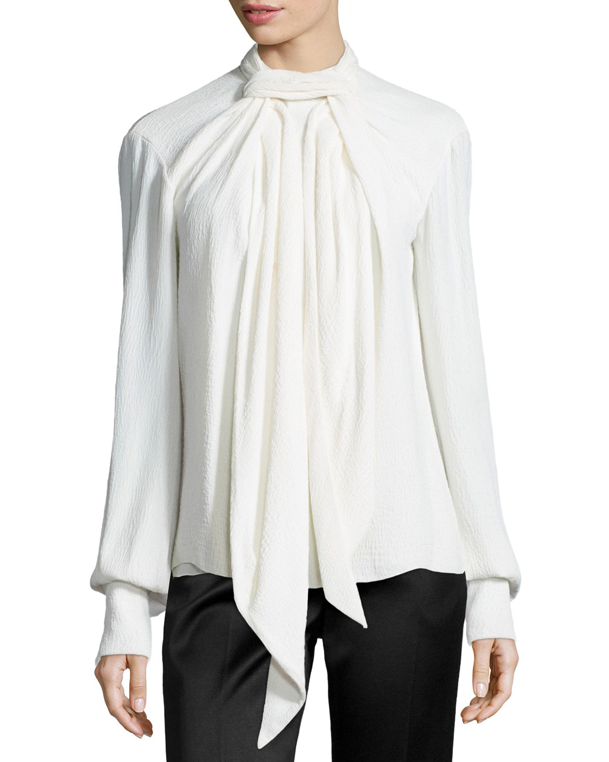 272879ac8d31ed Jason Wu LS LONG SCARF SILK BLOUSE
