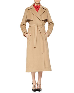 Camel-Hair Capelet Trenchcoat