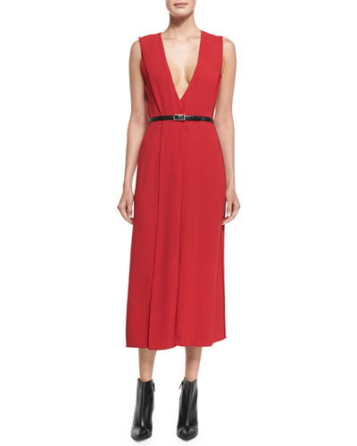 V-Neck Crepe Wrap Dress
