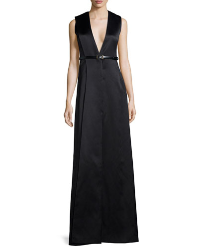 V-Neck Origami Sateen Gown