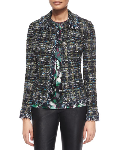 Fringe-Trimmed Ribbon Tweed Jacket