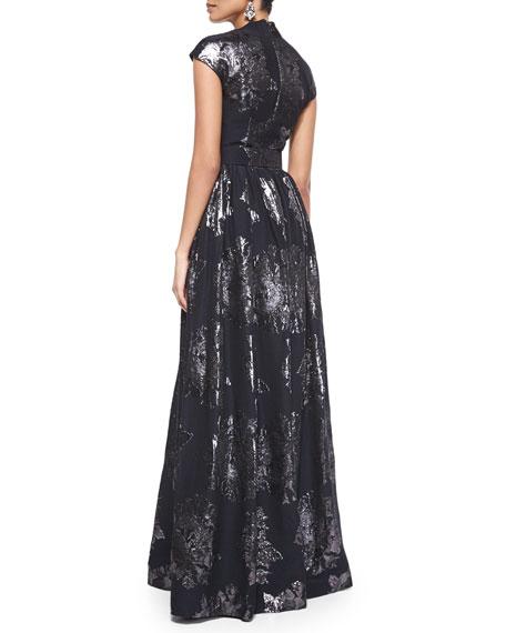 Metallic Rose Jacquard Full Gown