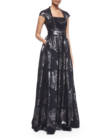 St. John CollectionMetallic Rose Jacquard Full Gown