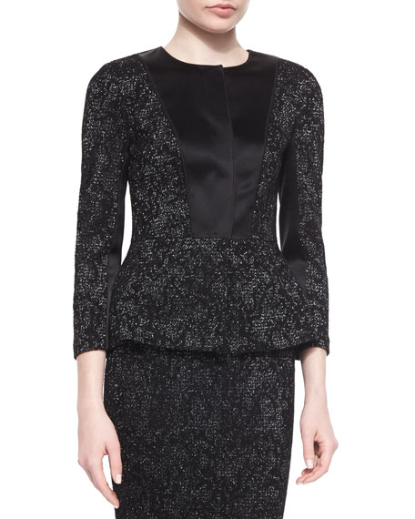 St. John CollectionSubtle Floral Pattern Sparkle Knit Peplum