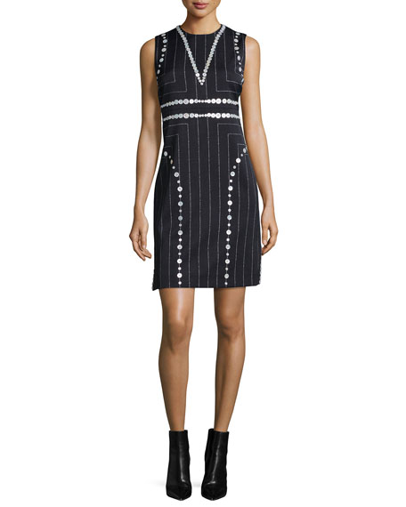 Edun Square Pinstripe Button-Trimmed Sheath Dress