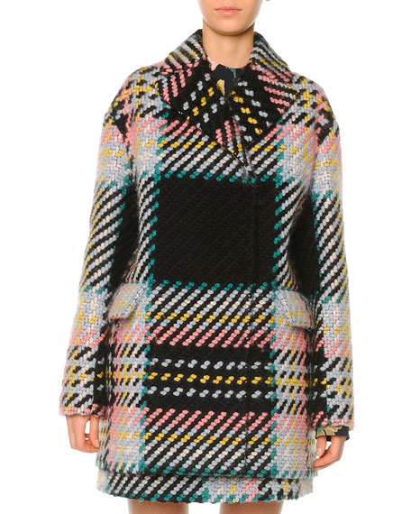 Marni Macro Plaid Tweed Coat, Camelia