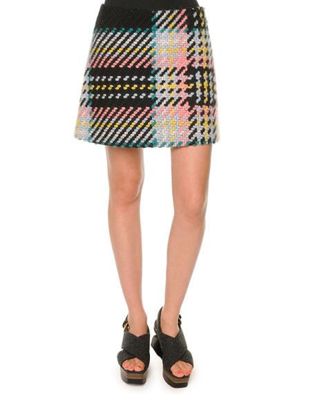 Marni Marco Plaid Tweed Skirt, Camelia