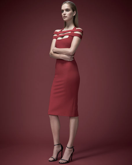 Cushnie Et Ochs Strappy-Shoulder Jersey Sheath Dress, Red