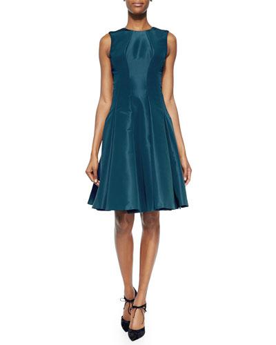 Sleeveless Pleated Silk Faille Dress, Teal
