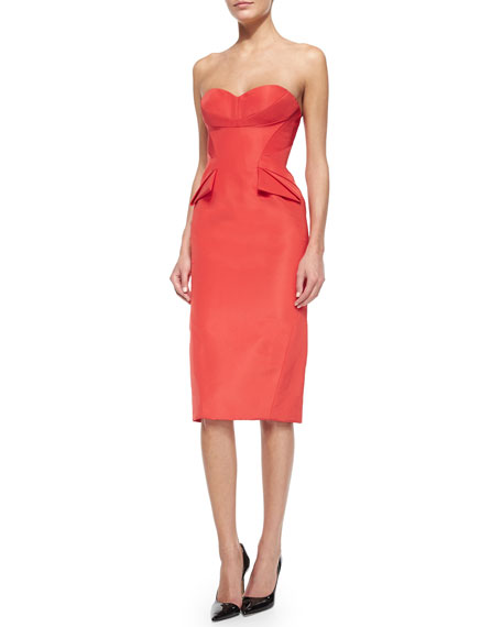 Zac Posen Strapless Folded-Waist Detail Dress, Azalea