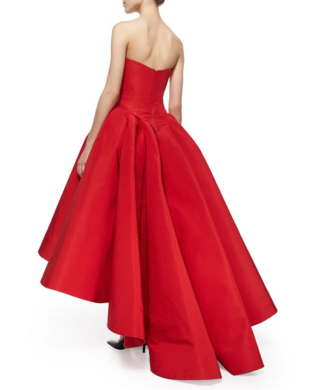 Image 2 of 2: Strapless Cat-Ear-Bodice High-Low Gown, Grenadine