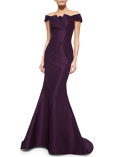 Folded Off-the-Shoulder Silk Faille Gown, Plum