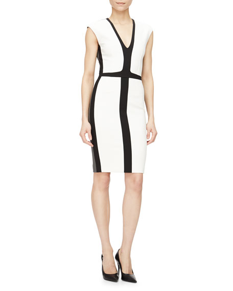 Narciso Rodriguez Cap-Sleeve Tricolor Sheath Dress, White/Black