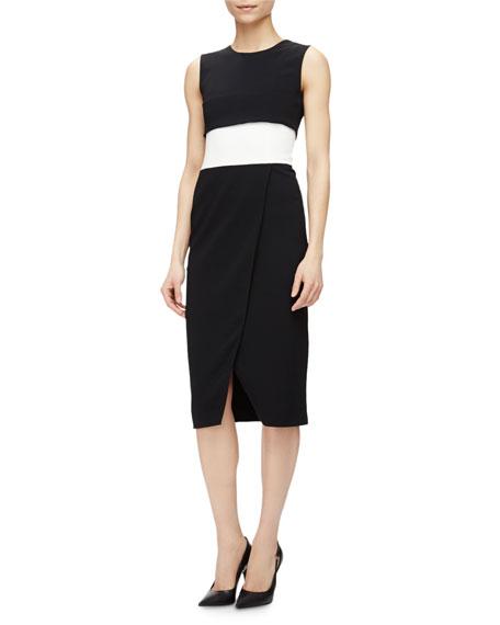 Narciso Rodriguez Sleeveless Colorblock Faux-Wrap Dress
