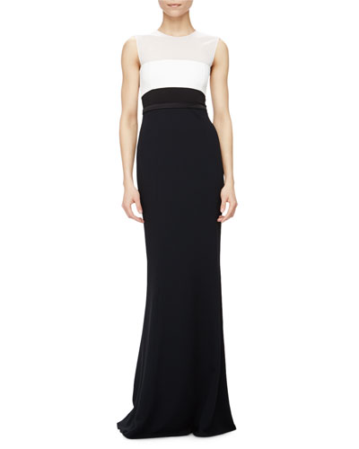 Sleeveless Colorblock Column Gown