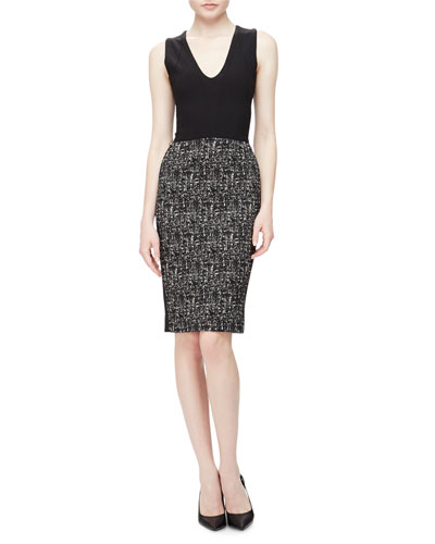 Sleeveless V-Neck Tweed-Skirt Sheath Dress