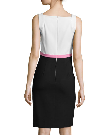 Colorblock Sleeveless Pencil Dress, Ecru/Pink