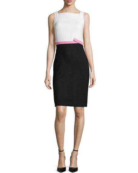 Valentino Colorblock Sleeveless Pencil Dress, Ecru/Pink