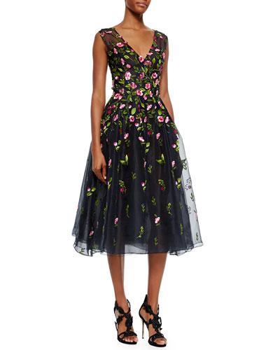 V-Neck Floral Embroidered Organza Dress