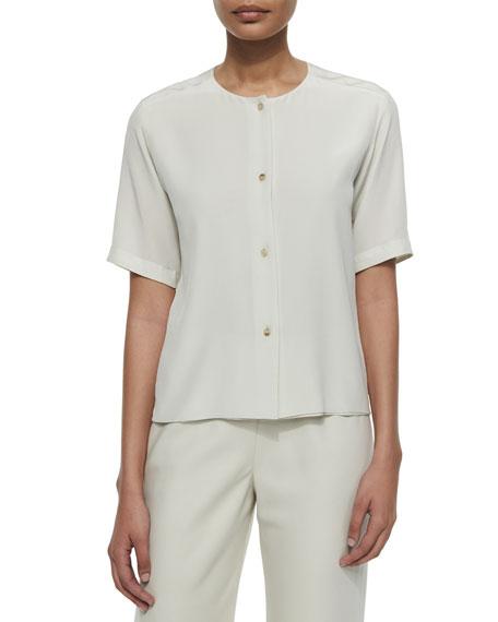 Shamask Silk Button-Front Blouse, Beige