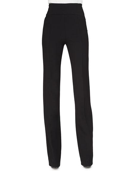 Narciso Rodriguez High-Rise Flared Crepe Pants, Black