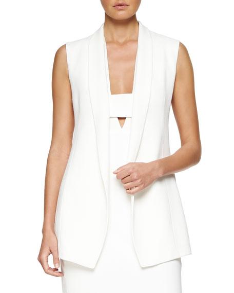 Narciso Rodriguez Sleeveless Shawl-Collar Crepe Jacket
