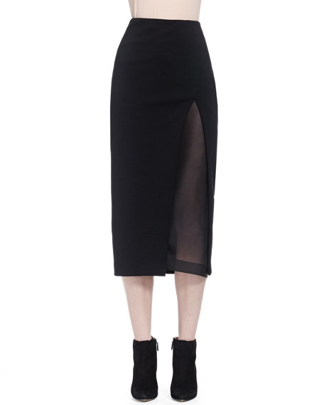 Donna Karan Slit Shadow Paneled Skirt