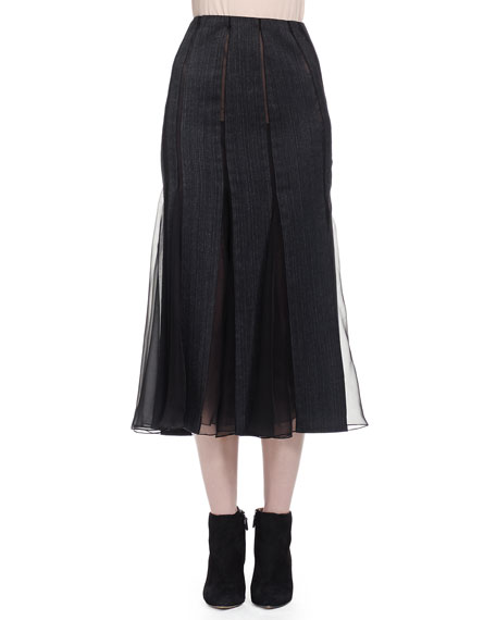 Donna Karan Pieced Chiffon-Paneled Midi Skirt