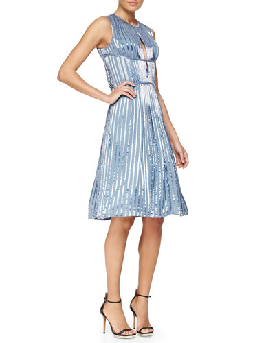 Bead-Embellished Pleated Keyhole Dress