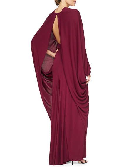 Draped Cape-Sleeve Open-Back Gown