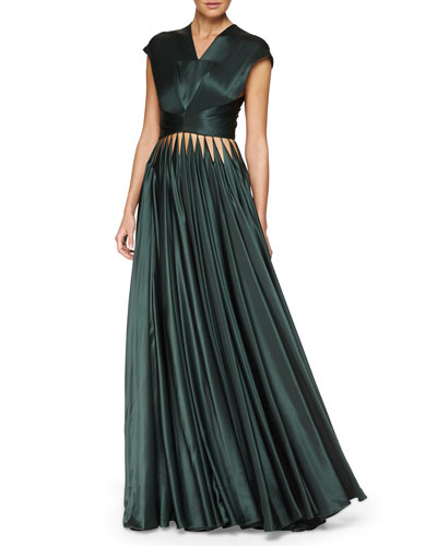 Cutout Crisscross Pleated Gown