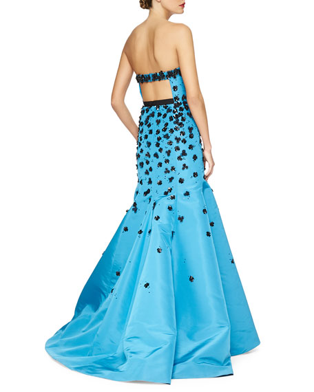 Strapless Floral Sequin-Embroidered Gown