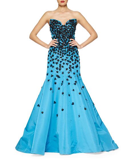Oscar de la Renta Strapless Floral Sequin-Embroidered Gown
