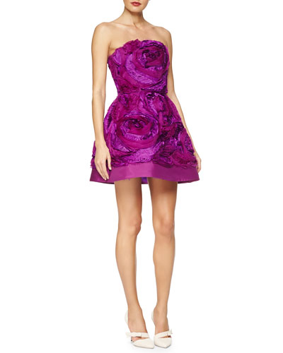 Strapless Rosette Fit-And-Flare Dress