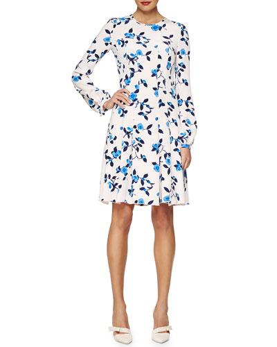 Scattered Pansies-Print Crepe Dress