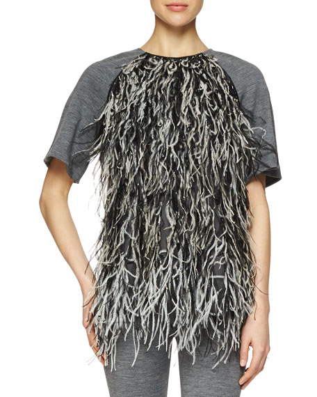 Lela Rose Feather-Front Ponte-Knit Top