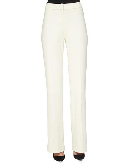Lela Rose Stretch Ponte Straight-Leg Pants