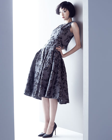 Floral-Jacquard Full-Skirt Dress