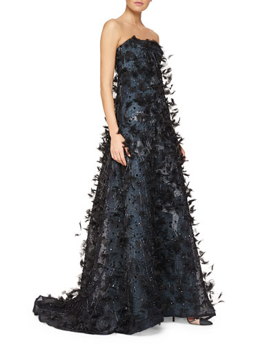 Strapless Feathered Fringe-Trimmed Gown