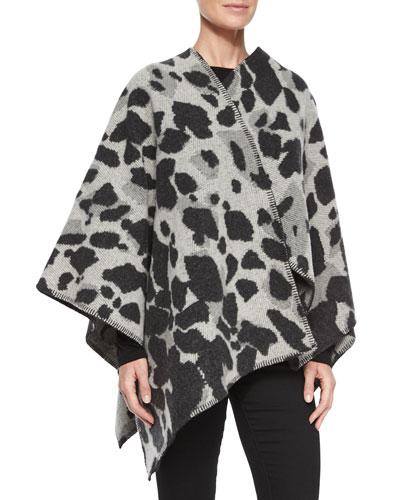 Leopard-Print Wool/Cashmere Cape