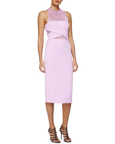Netted Cross-Front Sheath Dress