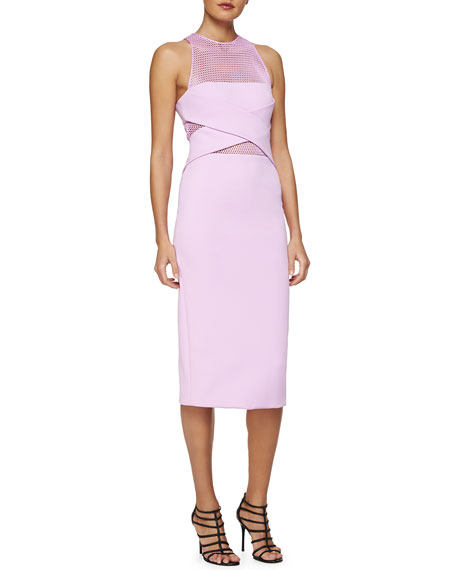 Cushnie Et Ochs Netted Cross-Front Sheath Dress